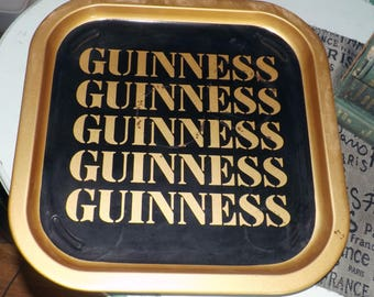 Vintage Guinness square metal serving | bar tray.  Black with gold GUINNESS wording and gold rim.