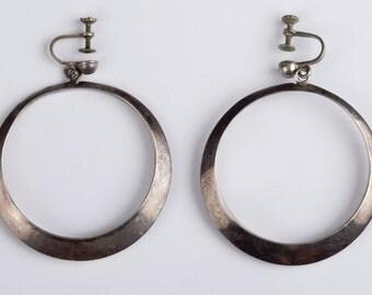 Mexican Sterling Silver Dangle Hoop Earrings
