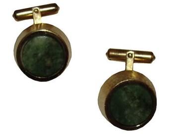 Christian Dior Gold & Jade Cuff Links