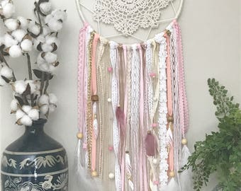 Pink and Gold Dream Catcher, Large Dream Catcher, Pink Dreamcatcher, Pink and Gold Decor, Pink and Gold Nursery Decor, Baby Shower Gift