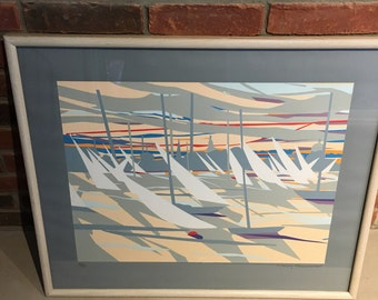 Awesome Pencil Signed 1988 Nancy Hammond Racing In The Harbour Silkscreen 43/139