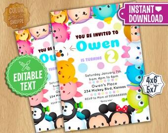 Tsum Tsum Invitation - EDITABLE TEXT - Disney Tsum Tsum Birthday Party Invite - Mickey, Minnie, Frozen, Characters - Instant Download