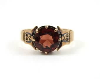 Victorian 10K Rose Gold Garnet Ring/Victorian Garnet Solitaire/Engagement Ring/1800's Ring/Antique Engagement Ring/January Birthstone