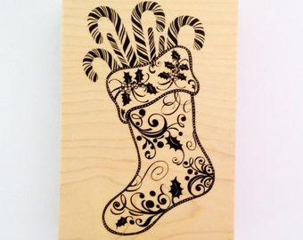 Large Christmas Stocking Rubber Stamp by Inkadinkado