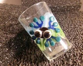 Hand blown glass, shot glass with frog critter!