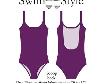Scoop back One piece pdf sewing pattern Swim suit Women size XS to 3XL