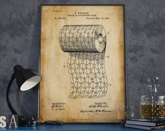 Toilet Paper Poster| Toilet Paper| Toilet Paper Patent| Bathroom Wall Art| Restroom Decor| Powder Room Art| Toilet Art| Patent Art| HPH434