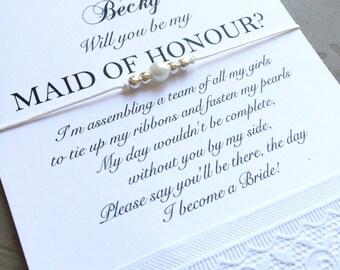 Maid of honor voorstel, Maid of honor geschenk, worden mijn bruidsmeisje, Maid of honor armband, Wish armband voor bruiloft, bruidsmeisje uitnodigen, B9