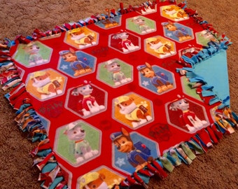 "Paw Patrol Fleece Throw, Double Sided Fleece Tie Blanket, Kid's Size: 50"" x 38"""