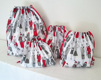 Lady in Red Print Set of 4 Cotton Travel Bags, Laundry Bag, Lingerie Bag, Utility Bag, Shoe Bag or Sock Bag.