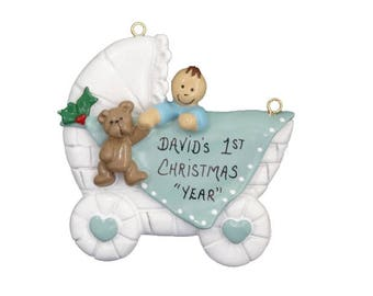 Baby's 1st Custom  Personalized  Christmas Ornament - Baby's First Personalized Christmas Ornament - Baby Boy Shower Gift