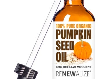 Organic Pumpkin Seed Oil | Cold Pressed and Unrefined | in 4 oz Glass Bottle with Eye Dropper