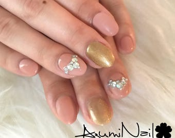 Gold X Pink Gel colored Press on nails Glue on nails