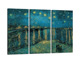Painting on canvas with Vincent Van Gogh's The Starry Night Trio Chassis