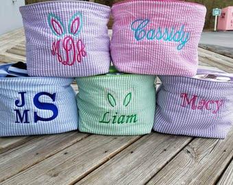 Easter Basket, Monogrammed Easter Basket, Personalized Easter Basket, Seersucker Easter Basket, Kids Easter Basket, Easter Bucket -  EB01