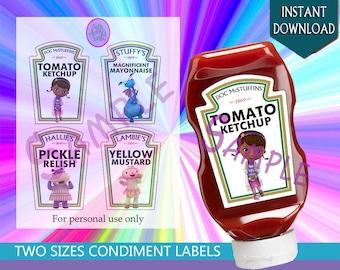 Doc McStuffins' Heinz Condiment Labels - Doc, Stuffy, Hallie, and Lambie - Disney Junior Doc McStuffins' Show