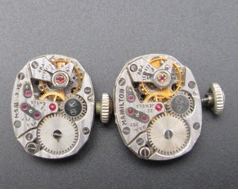 Vintage Watch Movements, Hamilton Pinstripe Movements, Mechanical Watch Movement for Cuff Links, Steampunk or Altered Art (#HM12)