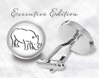 Rhino Cufflinks - Rhinoceros Cuff Links - Rhino Cufflink - Wildlife Cufflinks (Pair) Lifetime Guarantee (S0133)