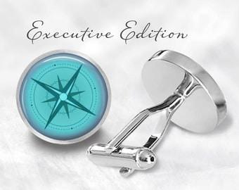 Blue Nautical Compass Cufflinks - Nautical Cuff Links - Sailing Cufflink - Compass Cuff Links (Pair) Lifetime Guarantee (S0296)