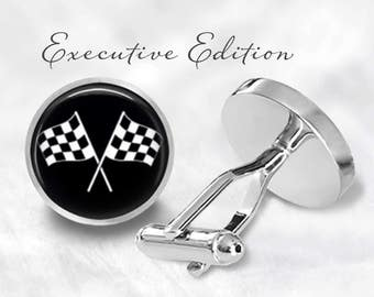 Checkered Flag Cufflinks - Racing Cufflinks - Car Racing Cuff Links (Pair) Lifetime Guarantee (S0804)