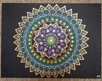 Mandala wall art/ mandala painting/bohemian/dot work/ dotillism/ painting/ 18x24/ meditation/ yoga/spiritual/flower/ gold Kaylabreen2017©