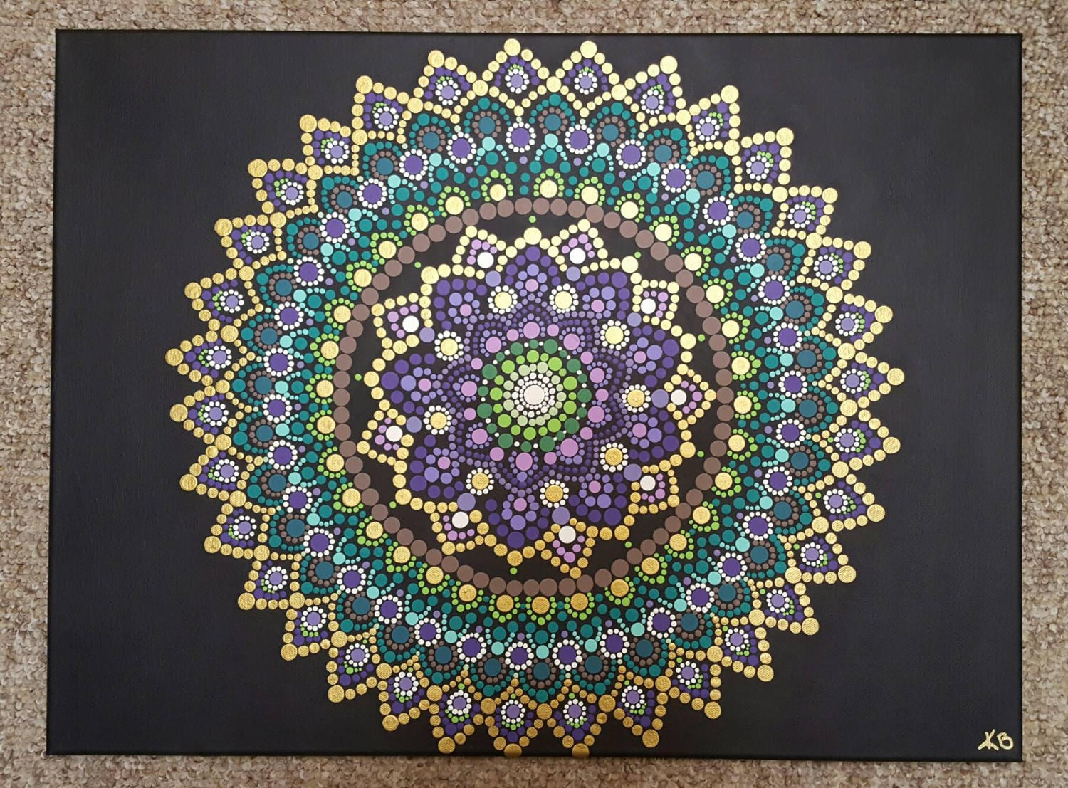 Mandala wall art mandala painting bohemian dot work for Mural mandala