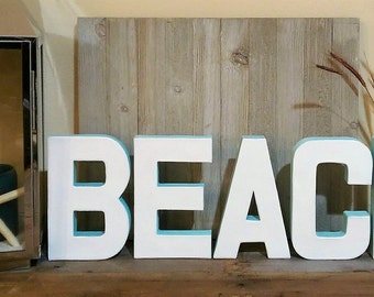 Beach Block Letters White - Baby Blue