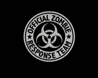 Official Zombie Response Team Bio Hazard Vinyl Decal in your choice of great glitter colors and sizes!