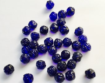 Vintage Cobalt Blue Beads, Cobalt Glass Beads, Vintage Cobalt Round Beads, Textured, NOS, Three Horse Brand, Made In Taiwan, 14MM, 10 Pieces