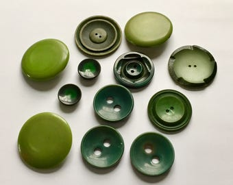 Vintage Green Buttons, Vintage Buttons, Assorted Lot Green Buttons, Vintage Sew Two Hole, Shank Style, Assorted Greens And Sizes, 12 Pieces