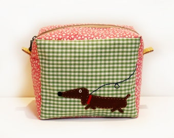 Box Pouch with Dachshund Applique, Travel Bag, Cosmetic Bag, Accessory Pouch, Make up Bag, Boxed Zipper Pouch, Dog Pouch, Cotton Zip Pouch