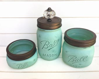 CUSTOMIZE YOUR OWN - Three Mason Jars Set - Rustic Home Decor Bedroom Bathroom Organizer Painted Distressed Shabby Chic Bronze Metallic