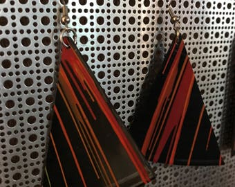 Spin painted vinyl record earrings