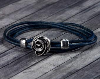 Rose Leather Bracelet - Leather Wrap Bracelet - Wire Wrap - Womens Leather Bracelet - Rose Jewelry - Valentines Day - Gifts for her - Rose
