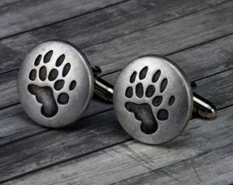 Bear Paw Cufflinks - Bear Paw Cuff Links - Animal - Cuff Links - Mens Accessories - Wedding - Gifts for him - Bear - Paw - Mens Jewelry