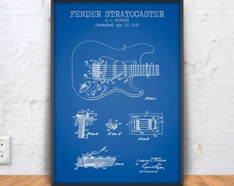 FENDER STRATOCASTER poster, fender guitar patent, guitar blueprint, guitar illustration, music wall art, music room decor, rock art, #1321