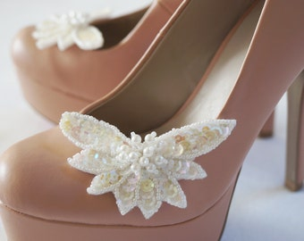 WHITE Pearl & Sequin Shoe Clips, Shoe Clips, Bridal Shoe Clips, Wedding Shoe Clips
