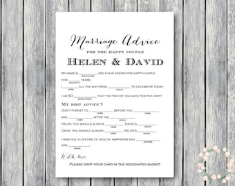 Marriage advice cards, Marriage advice cards, Wedding Mad Libs, Bridal Shower Mad Libs, Bridal Mad Libs, Mad lib advice cards WD01 TG00 TH00