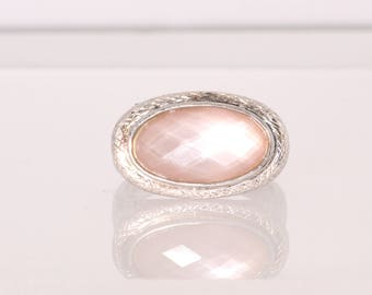 Sterling Silver  Pink Quartz Ring Size 10.  Vintage, Estate.  Large Stone.  Pink Ring.