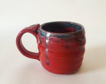 Handmade red and blue glaze ceramic mug / coffee cup / mugs