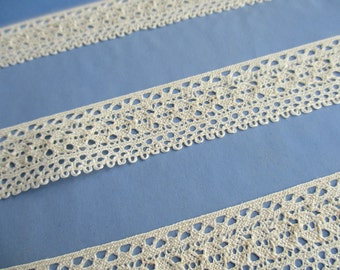 Vintage cotton lace trim  - 1 yard/Cream/2cm