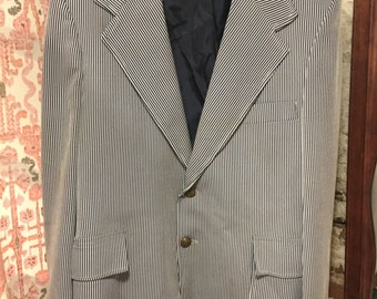 Vintage Navy Blue and White Striped Blazer with Pockets and Back Vent