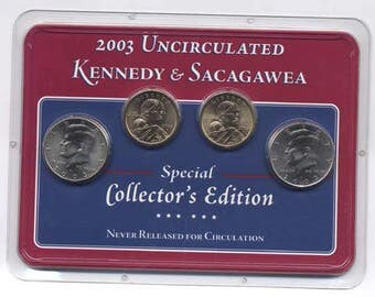 Uncirculated Kennedy and Sacagawea 4-Coin Set Collector's Edition UNC