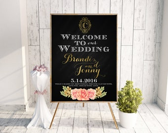 Elegant Wedding Welcome Sign - Personalized Wedding Sign - Digital File Wedding Sign - Printed Wedding Welcome Sign - Custom Monogram