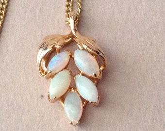 Opal Cluster Pendant and 18K Gold Plate Chain Necklace