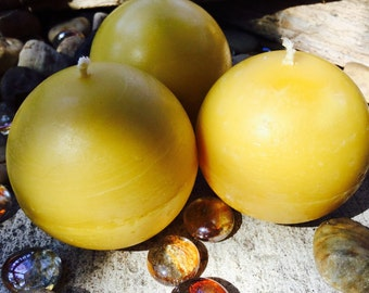 """100% Pure Beeswax large 2.5"""" Sphere candles Scented or unscented. Pumpkin Spice, Lemon Eucalyptus, Heilala Vanilla"""