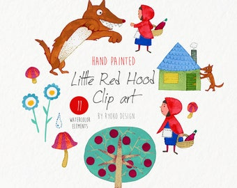 watercolor clip art-Little red riding hood, vector set, nursery art, watercolor, wolf, Childrens book, instant download/ Part1