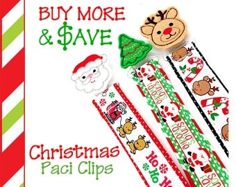 Christmas Pacifier Clips, Set of 3, Santa, Reindeer, Christmas Tree, Paci Clip, Pacifier Holder, Binky Clip, Christmas Baby Shower Gift