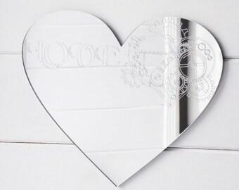 Steampunk Engraved Love Heart Acrylic Mirror