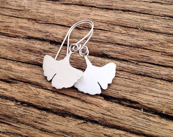 Handmade Silver Ginkgo Leaf earrings